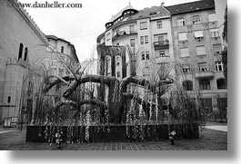 budapest, buildings, europe, horizontal, hungary, jewish, life, religious, steel, synagogue, trees, photograph