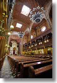 budapest, buildings, europe, furniture, hungary, interiors, jewish, pews, religious, slow exposure, synagogue, temples, vertical, photograph