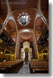 budapest, buildings, europe, furniture, hungary, interiors, jewish, pews, religious, synagogue, temples, vertical, photograph