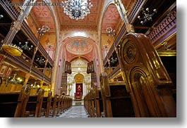 budapest, buildings, europe, furniture, horizontal, hungary, interiors, jewish, pews, religious, synagogue, temples, photograph