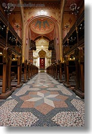 arts, budapest, buildings, europe, furniture, hungary, interiors, jewish, materials, mosaics, pews, religious, synagogue, temples, tiles, vertical, photograph