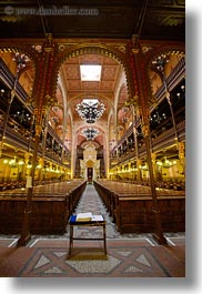 arts, budapest, buildings, chandelier, europe, furniture, hungary, interiors, jewish, lights, materials, mosaics, pews, religious, synagogue, temples, tiles, vertical, photograph