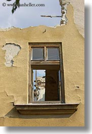 budapest, buildings, europe, hungary, ruined, vertical, windows, photograph