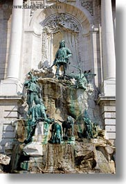 bronze, budapest, castle hill, europe, fountains, hungary, materials, statues, vertical, photograph