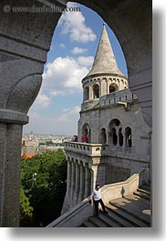 archways, budapest, castle hill, castles, clouds, europe, hungary, nature, sky, structures, towers, vertical, photograph