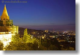 budapest, buildings, castle hill, castles, cityscapes, europe, horizontal, hungary, long exposure, nite, structures, towers, photograph