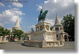 bronze, budapest, castle hill, castles, clouds, europe, horizontal, horses, hungary, materials, nature, sky, statues, towers, photograph