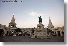 bronze, budapest, castle hill, castles, europe, horizontal, horses, hungary, materials, statues, towers, photograph