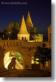 archways, budapest, castle hill, castles, europe, hungary, lions, long exposure, nite, structures, towers, vertical, photograph