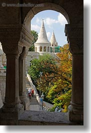archways, budapest, castle hill, castles, europe, hungary, structures, towers, vertical, photograph