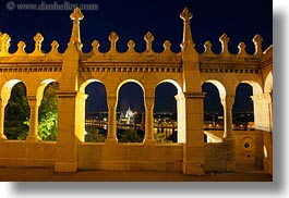 arches, archways, budapest, castle hill, castles, europe, horizontal, hungary, long exposure, nite, structures, walls, photograph