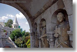 budapest, castle hill, castles, europe, horizontal, hungary, knights, materials, statues, stones, towers, photograph