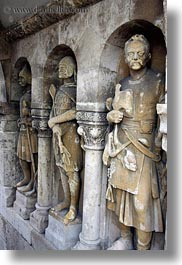budapest, castle hill, europe, hungary, knights, materials, statues, stones, vertical, photograph