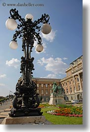 budapest, castle hill, clouds, europe, gardens, horses, hungary, lamp posts, nature, sky, statues, vertical, photograph
