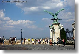 bronze, budapest, castle hill, clouds, eagles, europe, groups, horizontal, hungary, materials, nature, sky, turul, photograph