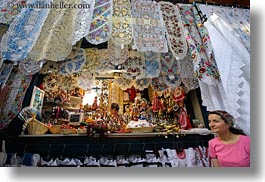 budapest, central market hall, colorful, design, europe, fabrics, horizontal, hungarian, hungary, people, womens, photograph