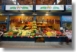 budapest, central market hall, europe, foods, fruits, horizontal, hungary, stands, photograph