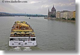 boats, budapest, cruise, danube, europe, horizontal, hungary, riverboat cruise ship, rivers, ships, photograph