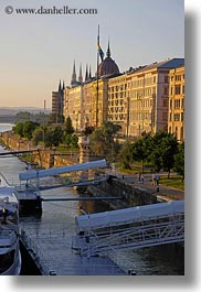 boats, budapest, danube, europe, hungary, loading, platforms, vertical, photograph