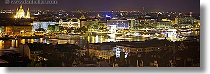 budapest, buildings, cityscapes, danube, europe, horizontal, hungary, long exposure, nite, panoramic, structures, photograph