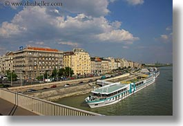 boats, budapest, buildings, cityscapes, clouds, danube, europe, horizontal, hungary, nature, rivers, sky, structures, tourists, photograph
