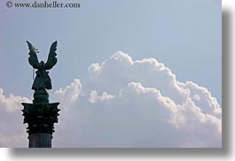 archangel, arts, bronze, budapest, clouds, europe, gabriel, heroes square, horizontal, hungary, landmarks, materials, monument, nature, sky, statues, winged, photograph