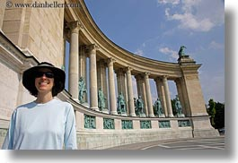 arts, bronze, budapest, clothes, europe, hats, heroes square, horizontal, hungary, landmarks, lori, materials, monument, people, statues, sunglasses, womens, photograph