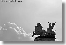 arts, black and white, bronze, budapest, chariots, clouds, europe, heroes square, horizontal, hungary, landmarks, materials, millenium, monument, nature, sky, transportation, photograph