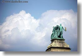 arts, bronze, budapest, clouds, europe, heroes square, horizontal, hungary, landmarks, materials, monument, nature, sky, statues, unknown, photograph