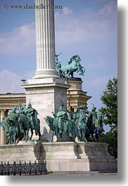 arts, bronze, budapest, europe, hero, heroes square, hungary, landmarks, materials, monument, statues, vertical, war, photograph