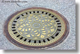 budapest, covers, europe, horizontal, hungary, irons, manhole covers, manholes, materials, photograph