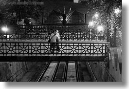black and white, bridge, budapest, conceptual, couples, emotions, europe, horizontal, hugging, hungary, men, nite, people, romantic, womens, photograph