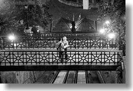 black and white, bridge, budapest, conceptual, couples, emotions, europe, horizontal, hugging, hungary, men, nite, people, romantic, slow exposure, womens, photograph