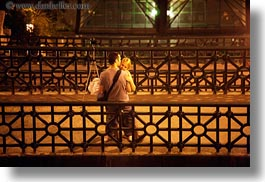 bridge, budapest, conceptual, couples, emotions, europe, horizontal, hugging, hungary, men, nite, people, romantic, slow exposure, womens, photograph
