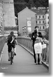 black and white, budapest, couples, cyclists, emotions, europe, hungary, hungging, men, people, romantic, vertical, womens, photograph
