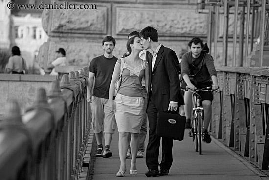 couple kissing. couple-kissing-on-bridge-bw-3.