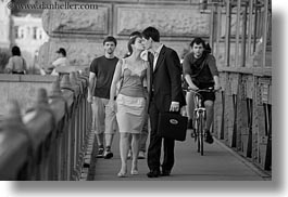 black and white, bridge, budapest, conceptual, couples, emotions, europe, horizontal, hungary, kissing, men, people, romantic, womens, photograph