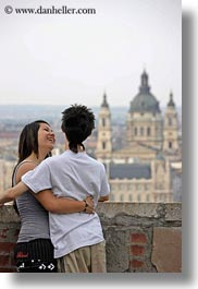 budapest, cityscapes, conceptual, couples, emotions, europe, hungary, men, overlooking, people, romantic, smiles, vertical, womens, photograph