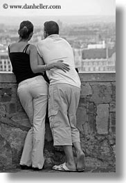 black and white, budapest, cityscapes, conceptual, couples, emotions, europe, hungary, men, overlooking, people, romantic, vertical, womens, photograph