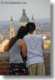 budapest, cityscapes, conceptual, couples, emotions, europe, hungary, men, overlooking, people, romantic, vertical, womens, photograph