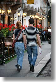 budapest, conceptual, couples, emotions, europe, hungary, men, people, romantic, shirts, striped, vertical, walking, womens, photograph