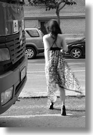 black and white, brunette, budapest, bus, europe, hair, hungary, people, sexy, vertical, walking, womens, photograph