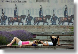 budapest, down, europe, horizontal, hungary, lying, people, womens, photograph