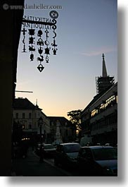 antiques, budapest, dusk, europe, hungary, shops, signs, vertical, photograph