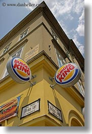 budapest, burgers, europe, hungary, kings, perspective, signs, upview, vertical, photograph