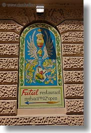 budapest, europe, fatal, hungary, restaurants, signs, vertical, photograph