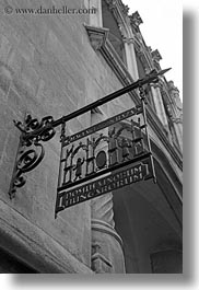 black and white, budapest, europe, hungary, irons, perspective, restaurants, signs, upview, vertical, photograph