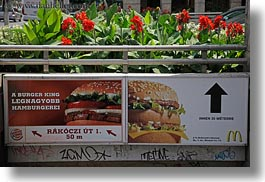 budapest, burgers, emotions, europe, flowers, horizontal, humor, hungary, kings, mcdonalds, signs, photograph