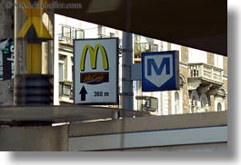budapest, emotions, europe, horizontal, humor, hungary, mcdonalds, metro, signs, photograph
