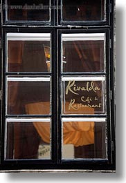 budapest, cafes, europe, hungary, rivalda, signs, vertical, windows, photograph